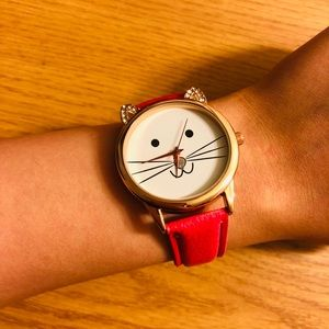 Pink cat smiling diamond watch